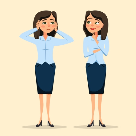 Young women in elegant office clothes. Worry