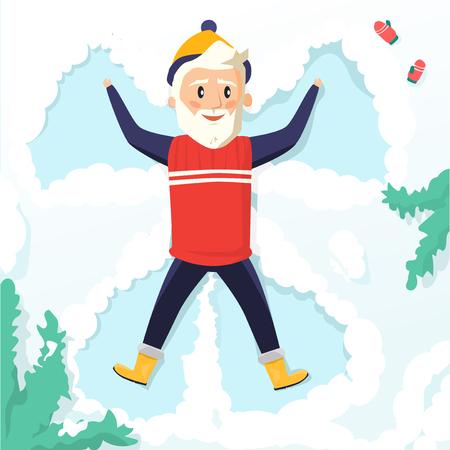 Grandpa making a snow angel Illustration