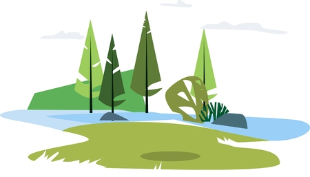 Forest summer with lake