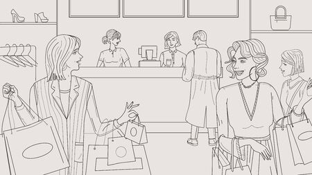 Crowd people in the shop. Vector doodle Ilustracja