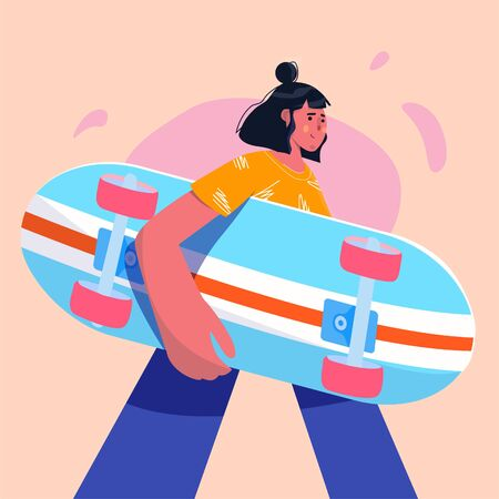 Women walking skateboarding in the summer. Teen skateboarders are posing and standing. Doodle art concept, illustration painting.