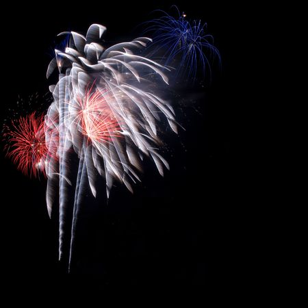 guy fawkes: Bursts of colorful fireworks on dark background, space for copy