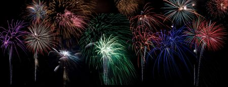 guy fawkes night: Bursts of colorful fireworks on large dark background, place behind any cityscape, landscape, or other objects