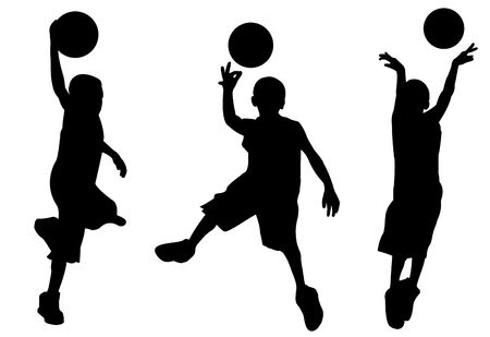 3 silhouettes of boy playing basketball, black on white background