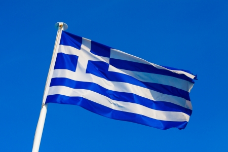 Greek flag waving in the middle of the frame