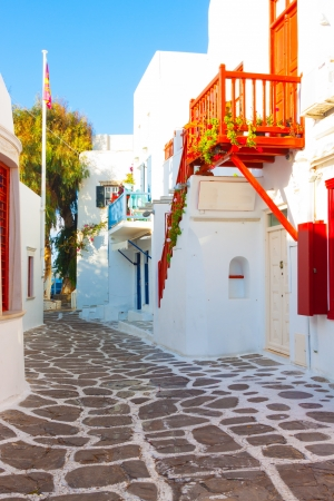 Beautifull vivid red view in main capitol of Mykonos island cyclades Greece
