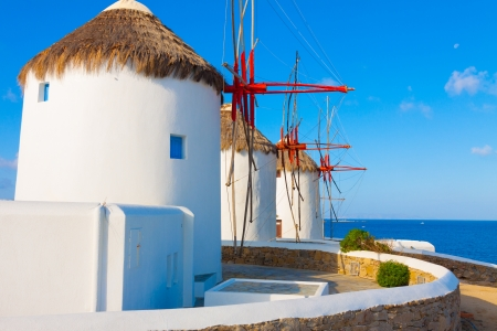 greece shoreline: Detail of windmills with base in Mykonos island cyclades Greece Stock Photo