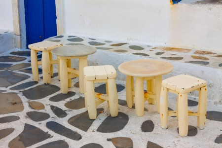 Detail tables by the sea in Little Venice in Mykonos Island Cyclades Greece photo