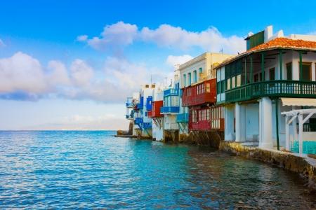 naxos: In the heart of Little Venice in Mykonos Island Cyclades Greece Stock Photo