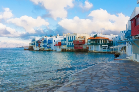 Little Venice with clouds on sky in Mykonos Island cyclades Greece photo