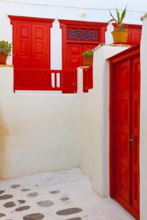 Red windows in Mykonos Island Cyclades Greece Stock Photo - 17352609