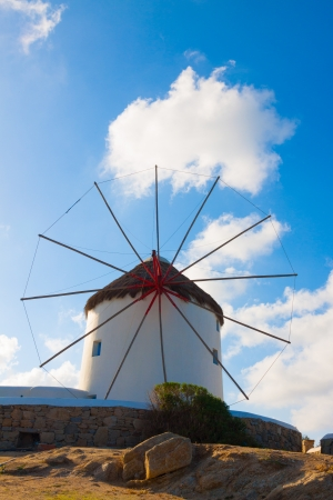 Single windmill in Mykonos island cyclades Greece photo