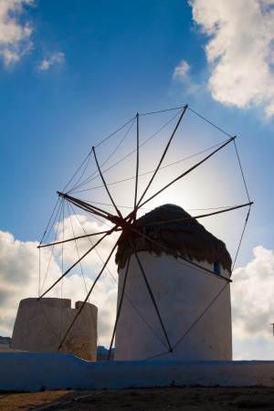 Single windmill side view in Mykonos island cyclades Greece photo