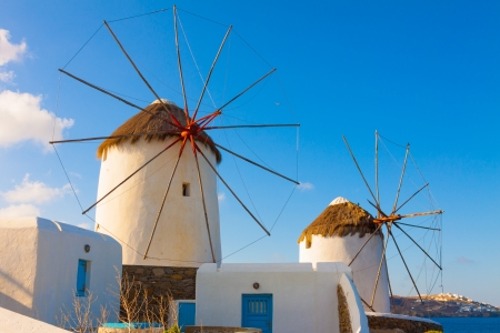 Two beautifull windmills closeup in Mykonos island cyclades Greece Stock Photo - 17354000