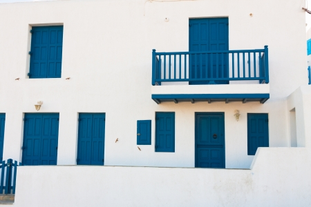 White washed blue frames in Mykonos island cyclades Greece photo