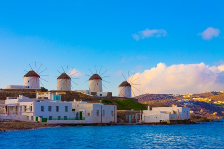 widnmills view from the heart of Little Venice in Mykonos Island Cyclades Greece