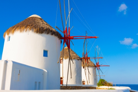 Windmills closeup detail in Mykonos island cyclades Greece photo