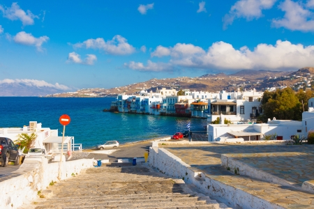 skiathos: Little Venice shoot from Windmills with blue sky and clouds in Mykonos island cyclades Greece