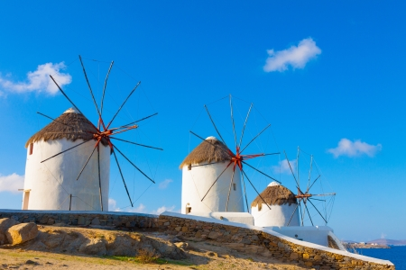 Three windmills in Mykonos Island Greece cyclades photo