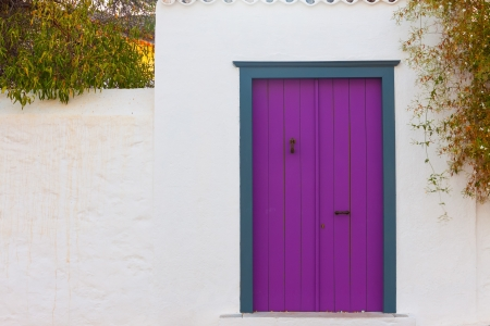 Colored wooden door frame in Hydra Island Greece Saronikos Gulf Stock Photo - 17406956