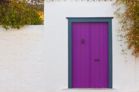 Colored wooden door frame in Hydra Island Greece Saronikos Gulf Stock Photo - 17406956