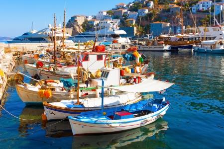 Fishing boats in Greek island Hydra Saronikos Gulf
