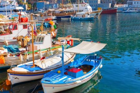 Greek island Hydra main Port iat Saronikos gulf Stock Photo - 17422637