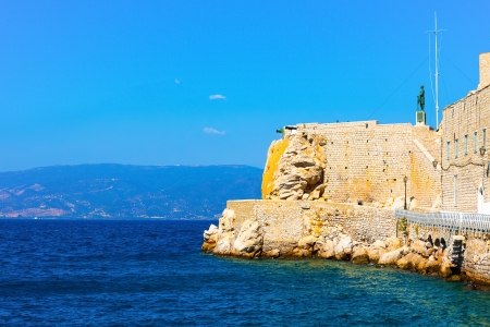 Hydra island of Greece in saronikos gulf main port entrance photo