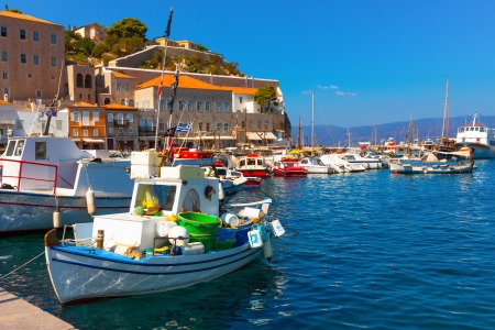 Hydra island of Greece in saronikos gulf main port Stock Photo - 17403095