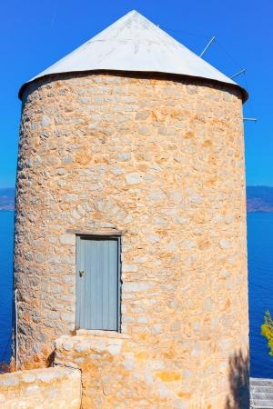 Old Wind mill at Greek Island Hydra at Saronikos Gulf Stock Photo - 17408443
