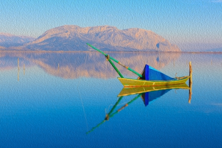 Greece landscape Paint, fishing boat in lake by Mountains winter theme painting Stock Photo - 17409283