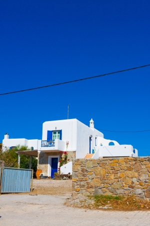 Beautiful street view at Mykonos isalnd Greece Cyclades photo