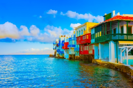 In the heart of Little Venice in Mykonos Island Cyclades Greece Stock Photo