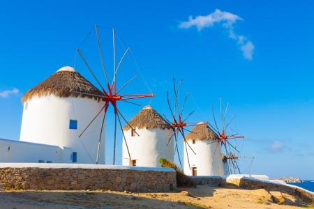 windmill: Windmills with blue sky  Mykonos Island Greece Cyclades Stock Photo