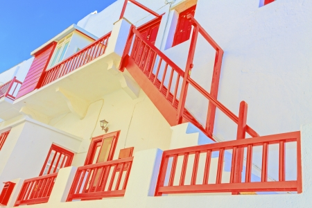 Greece Santorini, beautiful red wooden frames
