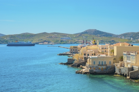 the little venice: Greece Syros island artistic view of main capitol, also known as little venice at summer time, Syros is located in Cyclades