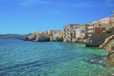 little venice: Greece Syros island artistic view of main capitol, also known as little venice at summer time, Syros is located in Cyclades