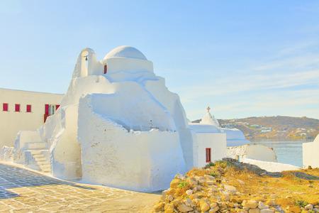Greece, church by Mykonos capitol Stock Photo