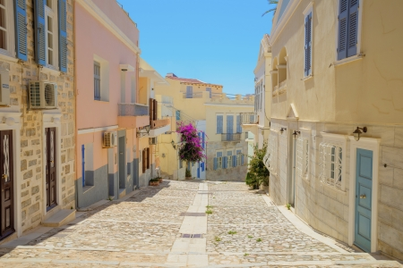 Greece Syros island view of main capitol at summer time, Syros is located in Cyclades