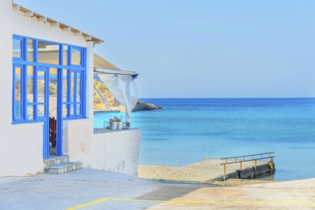 Greece Syros island, panoramic view on sandy beach during summer vacation with sea background, in cyclades