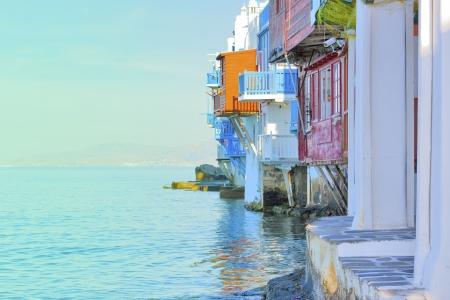 greek islands: Greece, closeup on little Venice Mykonos capitol