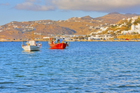 Greece, traditional fishing boats in  Mykonos capitol photo