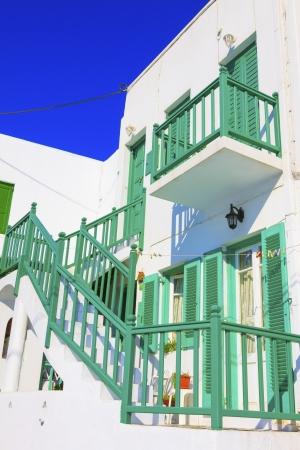 greeen: Greeen wooden frames by side Mykonos island Greece cyclades Editorial
