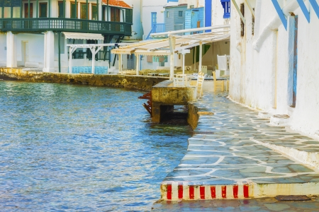 Little Venice detail in Mykonos Island Cyclades Greece