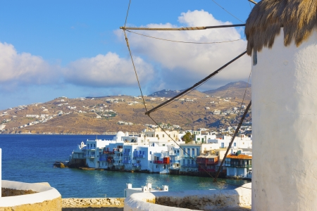 Little Venice view with a windmill part in the frame in Mykonos island in cyclades Greece Editorial