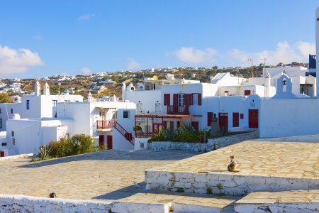 Mykonos main Capitol view from windlills Mykonos Island Greece cyclades Editorial