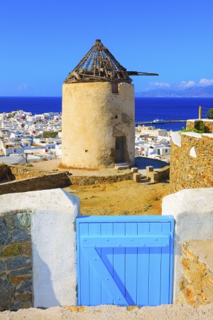 Old and damaged windmill in Mykonos island greece cyclades