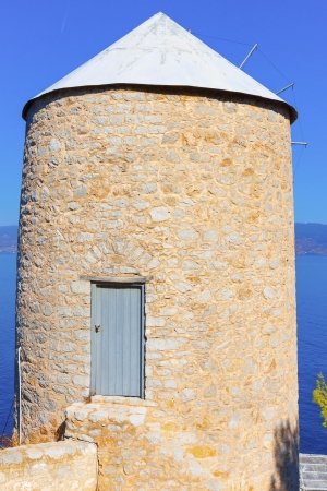 Old Wind mill at Greek Island Hydra at Saronikos Gulf