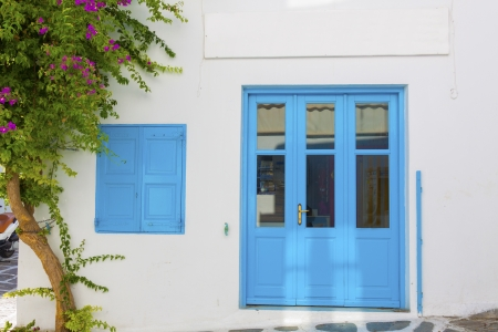Perfect blue painted frames  Mykonos island Greece cyclades