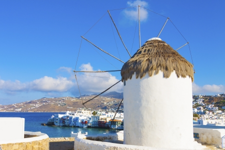 Rear shoot of windmill with little Venice  background in Mykonos island in cyclades Greece Editorial